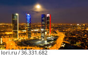 Night view of the four towers of the business district in Madrid. Spain. Стоковое фото, фотограф Яков Филимонов / Фотобанк Лори