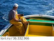 Tuna fisherman on boat, Los Cristianos. Tenerife. Стоковое фото, фотограф Sergio Hanquet / Nature Picture Library / Фотобанк Лори