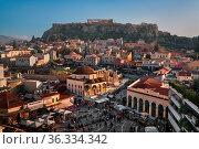 ATHENS, GREECE - FEBRUARY 24, 2017: Aerial View of Monastiraki Square... Стоковое фото, фотограф Zoonar.com/Andrey Omelyanchuk / age Fotostock / Фотобанк Лори