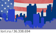 Image of blue cityscape,moving over waving american flag. Стоковое фото, агентство Wavebreak Media / Фотобанк Лори