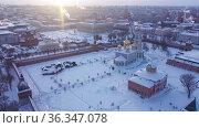 Top view of Tula Kremlin and Epiphany Cathedral. Russia. Стоковое видео, видеограф Яков Филимонов / Фотобанк Лори