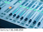 Mixing console, studio and concert equipment. Стоковое фото, фотограф Tryapitsyn Sergiy / Фотобанк Лори
