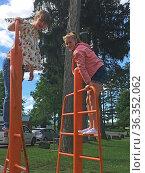 Young Girls Climbing on Playground Equipment, Wellsville, New York... Стоковое фото, фотограф Barrie Fanton / age Fotostock / Фотобанк Лори