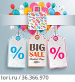 White paper banner, shopping bag, price stickers and colored balloons... Стоковое фото, фотограф Zoonar.com/Alexander Limbach / easy Fotostock / Фотобанк Лори