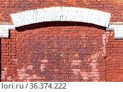 Weathered red brick wall as background texture. Bricks masonry with... Стоковое фото, фотограф Zoonar.com/Alexander Blinov / easy Fotostock / Фотобанк Лори