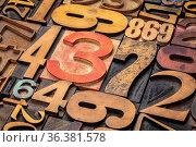 Numbers background - vintage grunge letterpress wood type printing... Стоковое фото, фотограф Zoonar.com/Marek Uliasz / easy Fotostock / Фотобанк Лори