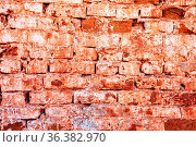 Red brick wall as background texture. Bricks masonry with seams. Стоковое фото, фотограф Zoonar.com/Alexander Blinov / easy Fotostock / Фотобанк Лори