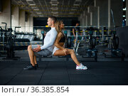 Couple doing endurance exercise, training in gym. Стоковое фото, фотограф Tryapitsyn Sergiy / Фотобанк Лори