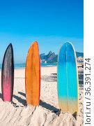 Surfboards standing upright in bright sun on the Ipanema beach, Rio... Стоковое фото, фотограф Zoonar.com/Ksenia Ragozina / easy Fotostock / Фотобанк Лори