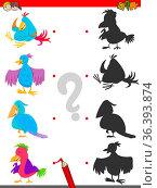 Cartoon Illustration of Matching Shadows Educational Game for Children... Стоковое фото, фотограф Zoonar.com/Igor Zakowski / easy Fotostock / Фотобанк Лори