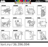 Black and white cartoon illustration of basic colors with comic animal... Стоковое фото, фотограф Zoonar.com/Igor Zakowski / easy Fotostock / Фотобанк Лори