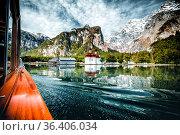 Boat drive on the Königssee in Berchtesgaden in Germany Bavaria. a... Стоковое фото, фотограф Zoonar.com/Maximilian Pawlikowsky / easy Fotostock / Фотобанк Лори