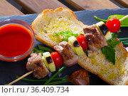 Skewer of lamb with ketchup. Стоковое фото, фотограф Яков Филимонов / Фотобанк Лори