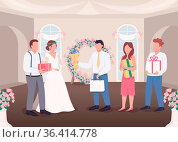 Gifts for bride and groom flat color vector illustration. Newlyweds... Стоковое фото, фотограф Zoonar.com/Natalia Nesterenko / easy Fotostock / Фотобанк Лори