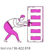Handyman fixing door knob flat silhouette vector illustration. Handyman... Стоковое фото, фотограф Zoonar.com/Natalia Nesterenko / easy Fotostock / Фотобанк Лори