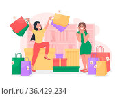 Girls shopping flat concept vector illustration. Sell clothes with... Стоковое фото, фотограф Zoonar.com/Natalia Nesterenko / easy Fotostock / Фотобанк Лори