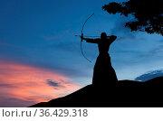 Abstract photo of man silhouette demonstrating martial arts with bow... Стоковое фото, фотограф Zoonar.com/Svetlana Radayeva / easy Fotostock / Фотобанк Лори