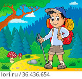 Image with hiker boy topic 2 - picture illustration. Стоковое фото, фотограф Zoonar.com/Klara Viskova / easy Fotostock / Фотобанк Лори