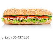 Brötchen Sandwich Vollkorn Baguette belegt mit Schinken seitlich freigestellt... Стоковое фото, фотограф Zoonar.com/Markus Mainka / easy Fotostock / Фотобанк Лори