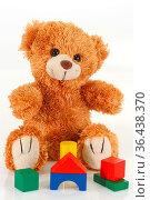 Kuscheliger Teddybär auf hellem Hintergrund. Стоковое фото, фотограф Zoonar.com/Birgit Reitz-Hofmann / easy Fotostock / Фотобанк Лори