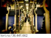 Blur, background image.Comfortable seats in the modern train. Transport... Стоковое фото, фотограф Zoonar.com/GANNA MARTYSHEVA / easy Fotostock / Фотобанк Лори