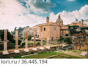 Rome, Italy. Temple Of Peace And Basilica Aemilia In The Roman Forum... Стоковое фото, фотограф Ryhor Bruyeu / easy Fotostock / Фотобанк Лори