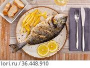 Whole baked dorado fish with potato on plate. Стоковое фото, фотограф Яков Филимонов / Фотобанк Лори