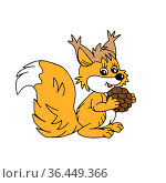 Hand drawn orange vector illustration of a beautiful adult young squirrel with a big cone and a long fluffy tail isolated on a white background. Стоковая иллюстрация, иллюстратор Татьяна Куклина / Фотобанк Лори