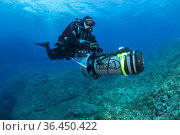Scuba diver with underwater scooter, Ponza Island, Italy, Tyrrhenian... (2014 год). Редакционное фото, фотограф Franco Banfi / age Fotostock / Фотобанк Лори