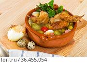Solyanka with quails, ham, olives. Стоковое фото, фотограф Яков Филимонов / Фотобанк Лори