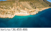 High angle drone panoramic view of cliffs and turquoise Mediterranean... Стоковое фото, фотограф Zoonar.com/Pius Lee / easy Fotostock / Фотобанк Лори