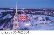 View from drone of Cathedral and bell tower of Ryazan kremlin in winter time at night, Russia. Стоковое видео, видеограф Яков Филимонов / Фотобанк Лори