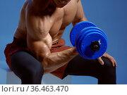Athlete with dumbbells sitting on cube in studio. Стоковое фото, фотограф Tryapitsyn Sergiy / Фотобанк Лори