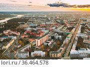 Gomel, Belarus. Aerial View Of Homiel Cityscape Skyline In Autumn... Стоковое фото, фотограф Ryhor Bruyeu / easy Fotostock / Фотобанк Лори