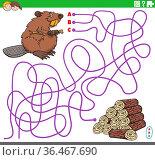 Cartoon illustration of lines maze puzzle game with beaver character... Стоковое фото, фотограф Zoonar.com/Igor Zakowski / easy Fotostock / Фотобанк Лори