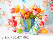 Frische bunte Tulpen in kleinem blauem Eimer zu Ostern. Стоковое фото, фотограф Zoonar.com/Barbara Neveu / easy Fotostock / Фотобанк Лори