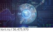Image of scope scanning and data processing on screens over globe. Стоковое фото, агентство Wavebreak Media / Фотобанк Лори