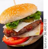 Image of hamburger on the plate. Стоковое фото, фотограф Яков Филимонов / Фотобанк Лори