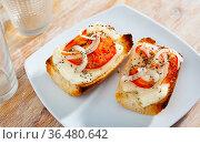 Toasted bread with cheese, onion and tomato. Стоковое фото, фотограф Яков Филимонов / Фотобанк Лори