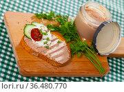 Toast with pate, fresh cheese on wooden board. Стоковое фото, фотограф Яков Филимонов / Фотобанк Лори