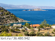 View of the mountains, village and the sea from the cliff (Greece, Peloponnese) Стоковое фото, фотограф Татьяна Ляпи / Фотобанк Лори