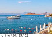 Beautiful Mediterranean coast with islands, mountains and yachts in... Стоковое фото, фотограф Zoonar.com/Volha Halkouskaya / easy Fotostock / Фотобанк Лори
