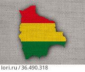 Karte und Fahne von Bolivien auf altem Holz - Map and flag of Bolivia... Стоковое фото, фотограф Zoonar.com/lantapix / easy Fotostock / Фотобанк Лори