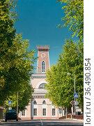 Chachersk, Gomel Region, Belarus. Famous Landmark - Old City Hall... Стоковое фото, фотограф Ryhor Bruyeu / easy Fotostock / Фотобанк Лори