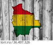 Karte und Fahne von Bolivien auf verwittertem Holz - Map and flag... Стоковое фото, фотограф Zoonar.com/lantapix / easy Fotostock / Фотобанк Лори