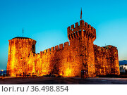 Medieval Castle of Kamerlengo in Trogir Illuminated in the Night,... Стоковое фото, фотограф Zoonar.com/Andrey Omelyanchuk / easy Fotostock / Фотобанк Лори