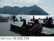 La Concha Bucht in San Sebastian, vorne die Insel Santa Caterina, ... Стоковое фото, фотограф Zoonar.com/Robert B. Fishman / age Fotostock / Фотобанк Лори