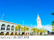 Historic Ferry Building angled against a beautiful blue sky on a sunny... Стоковое фото, фотограф Zoonar.com/Pius Lee / easy Fotostock / Фотобанк Лори