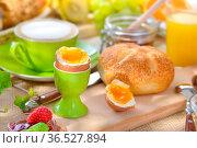 Gedeckter Frühstückstisch mit weich gekochtem Ei und frischen Brötchen... Стоковое фото, фотограф Zoonar.com/Karl Allgaeuer / easy Fotostock / Фотобанк Лори