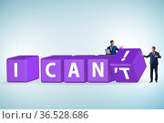 Determination concept with rotating cubes and the businessman. Стоковое фото, фотограф Zoonar.com/Elnur Amikishiyev / easy Fotostock / Фотобанк Лори